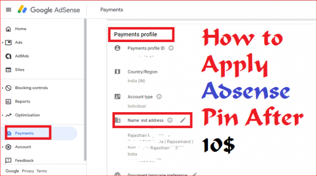 How to Apply Adsense Pin After 10$